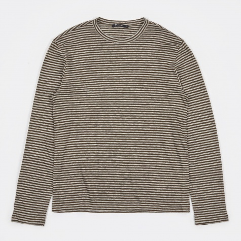 T by Alexander Wang Striped Linnen L/S T-Shirt - Army Green