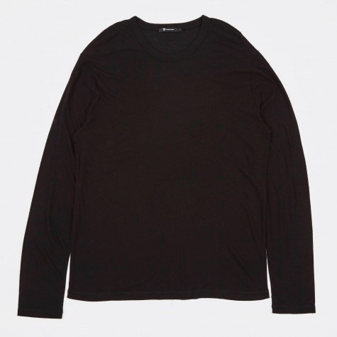 T by Alexander Wang Slub Rayon Silk Long Sleeve Tee - Black
