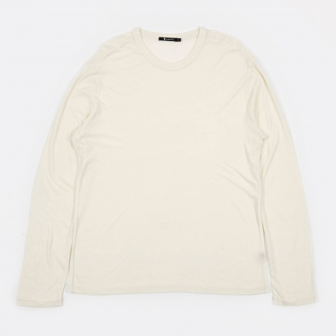 T by Alexander Wang Slub Rayon Silk Long Sleeve Tee - Ivory