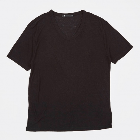 T by Alexander Wang Slub Rayon Silk Low Neck Tee - Black