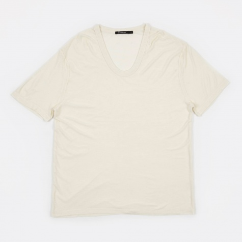 T by Alexander Wang Slub Rayon Silk Low Neck Tee - Ivory