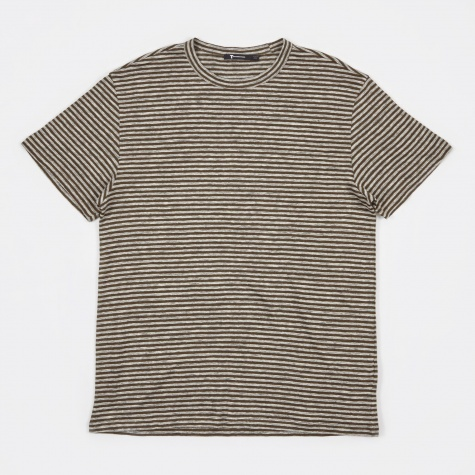 T by Alexander Wang Striped Linen S/S T-Shirt - Army Green