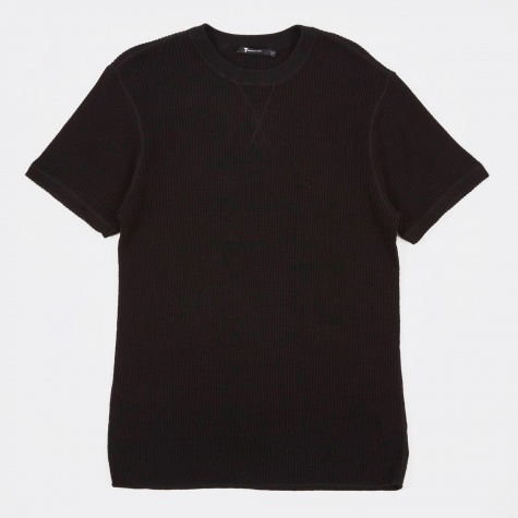 T by Alexander Wang Waffle Short Sleeve T-Shirt - Black