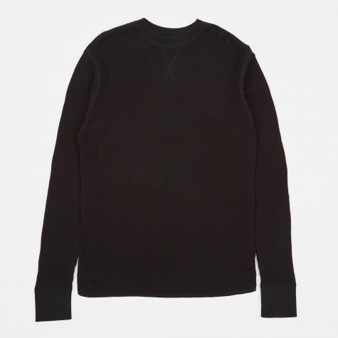 T by Alexander Wang Waffle Long Sleeve T-Shirt - Black