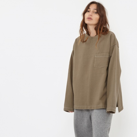 Long Sleeve Top With Pocket - Khaki
