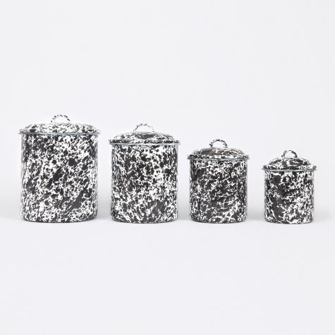 4-pc Set Canister - Black Marble