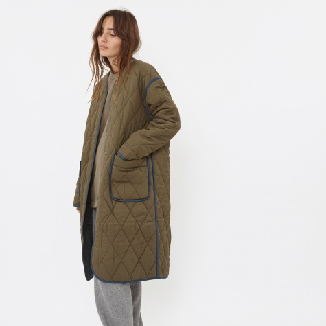 Quilted Long Coat - Khaki