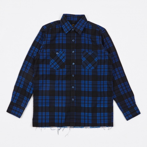 Cut-Off Regular Collar Shirt Block Plaid - Blue