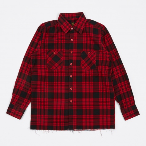 Cut-Off Regular Collar Shirt Block Plaid - Red
