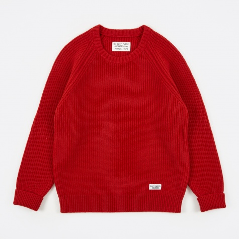 Rib Stitch Sweater - Red