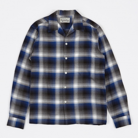 California Check Open Collar Shirt - Blue