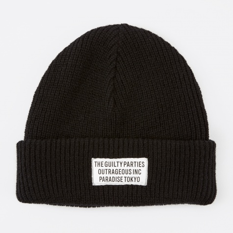 Plain Knit Watch Cap - Black