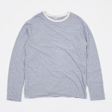 Border Stripe LS T-Shirt - White/Blue