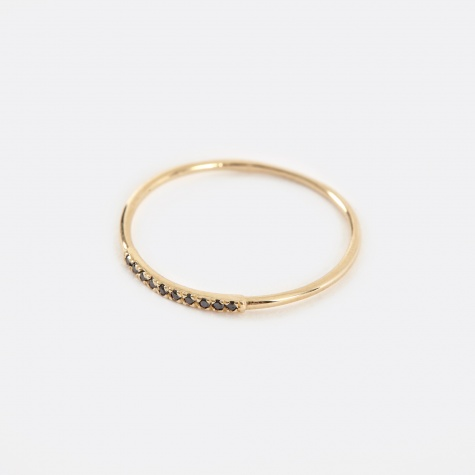 Mini Axis Ring With black Diamond - 14K Yellow