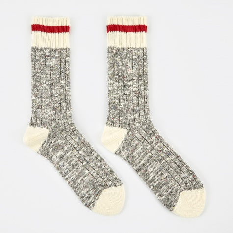 Heritage Speckle Ribbed Sock - Heather Grey