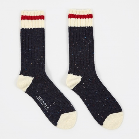 Heritage Speckle Ribbed Sock - Navy