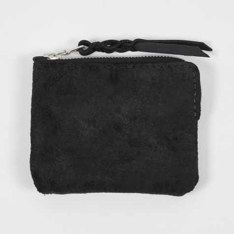Half Zip Wallet Suede - Black