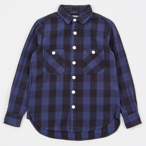 Sashiko Block Check Shirt - Navy/Black