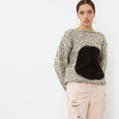 Sweater With Circle - Creme/Black Melange