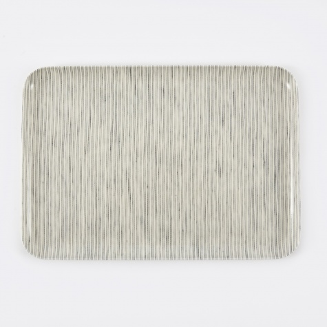 Linen Tray Grey Stripe - Large