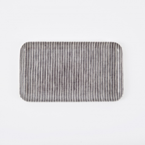 Linen Tray Grey White Stripe - Small