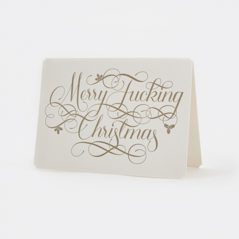 'Merry Fucking Christmas' Card - Gold