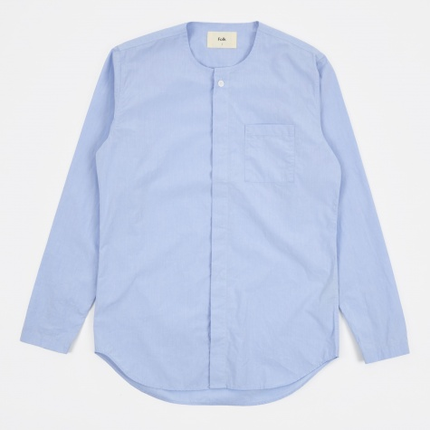 Collarless Shirt - Sky Blue