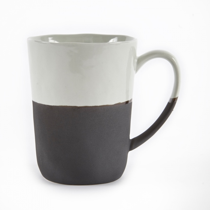 Broste Mug With Handle 'Esrum' Stoneware - Ivory/Brown (Image 1)