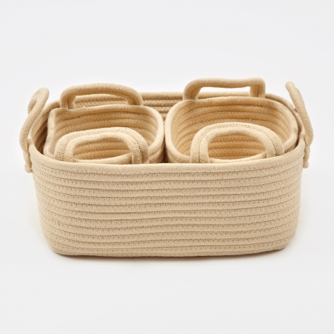 Basket Square 'Rebecca' Cotton Three Set - Ivory