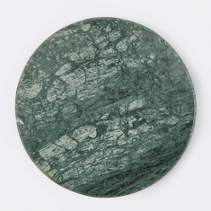 Broste Large Round Marble Plate - Green