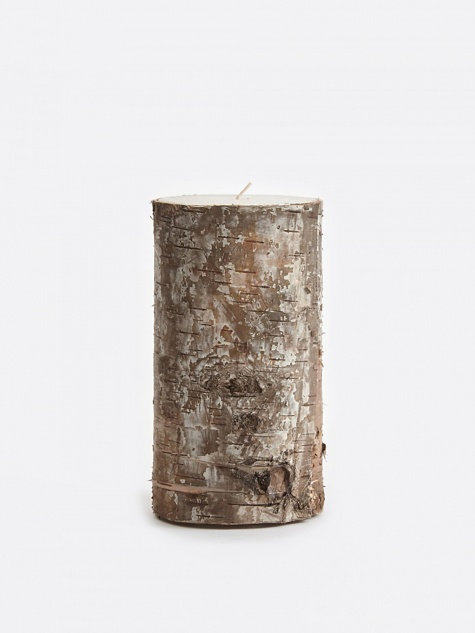 Candle With Birch Bark 7.5x15cm