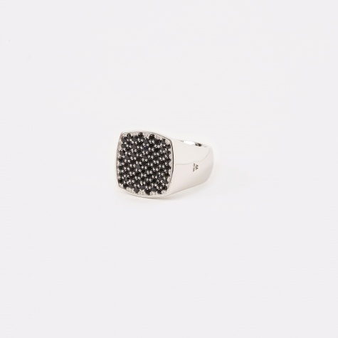 Pinkie Cushion Ring - Black Spinel