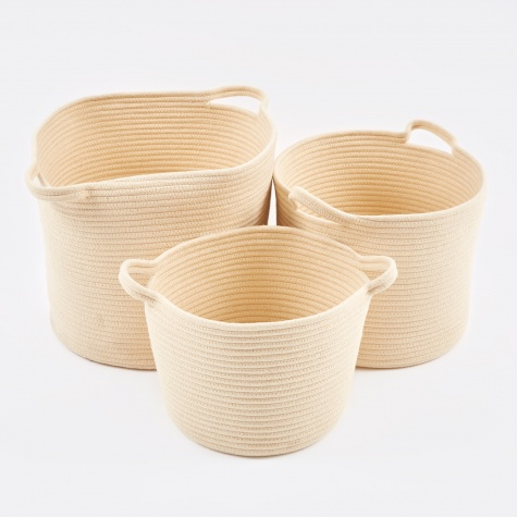 Basket Round 'Rebecca' Cotton Three Set - Ivory