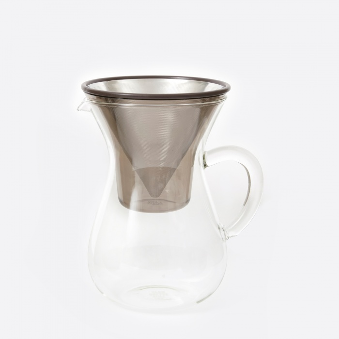 Kinto Slow Coffee Carafe Set 300ml - Stainless Steel (Image 1)