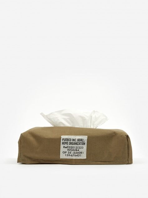 Laminated Fabric Tissue Box Cover - Olive