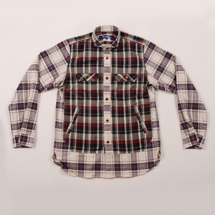 Junya Watanabe Man Cotton Panel Check Shirt - Red/Black (Image 1)