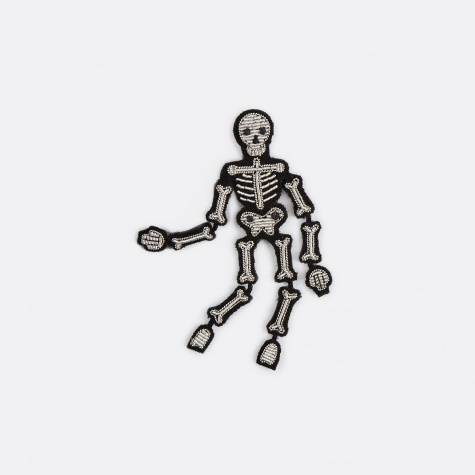 Skeleton Silver Embroidered Pin
