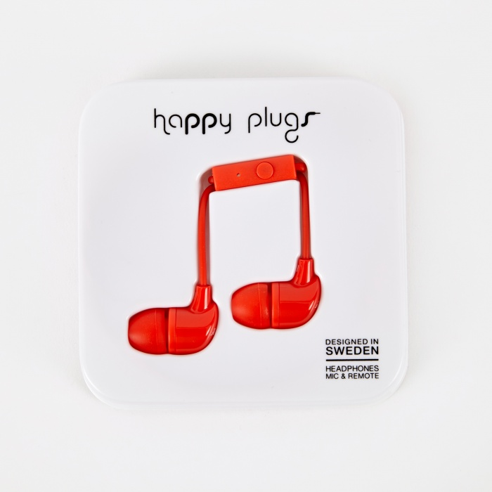 Happy Plugs In Ear Earphones With Mic and Remote - Red (Image 1)