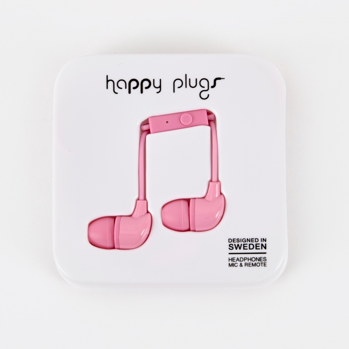 Happy Plugs In Ear Earphones With Mic and Remote -  Pink (Image 1)
