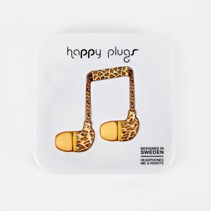 Happy Plugs In Ear Earphones With Mic and Remote -  Leopard (Image 1)