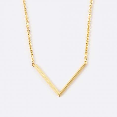 Long Check Necklace - Polished Gold 14K
