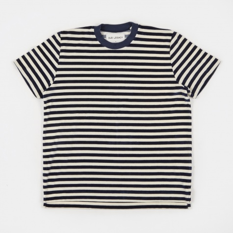 Box Tee - Navy/White Velour
