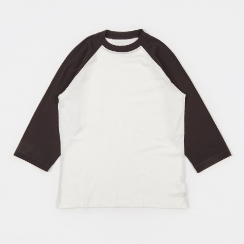 Raglan Tee 3/4 - Washed Black/White Army Jersey