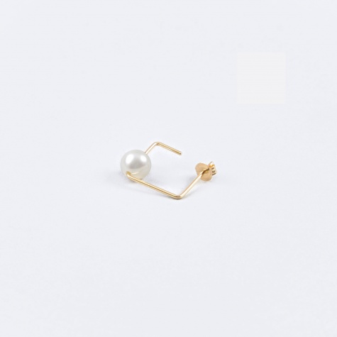 Square Water Pearl Earring - 18K Gold