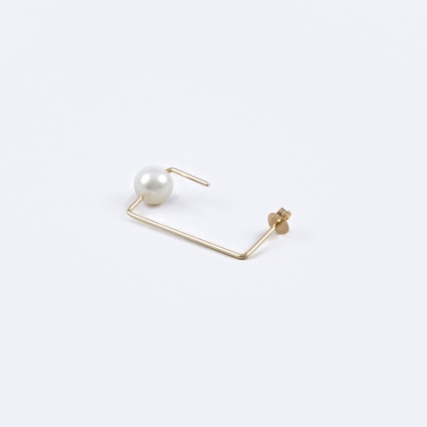Rectangle Water Pearl Earring - 18K Gold