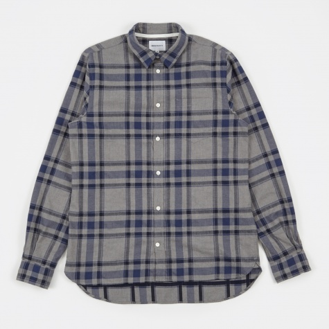 Hans Shirt Brushed Check - Broken Grey