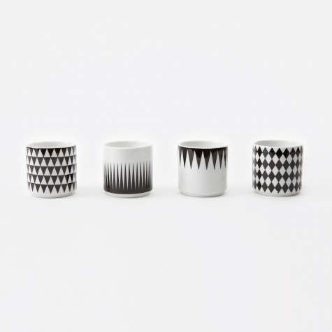 Geometry Espresso Cups (4Set) - Black/White