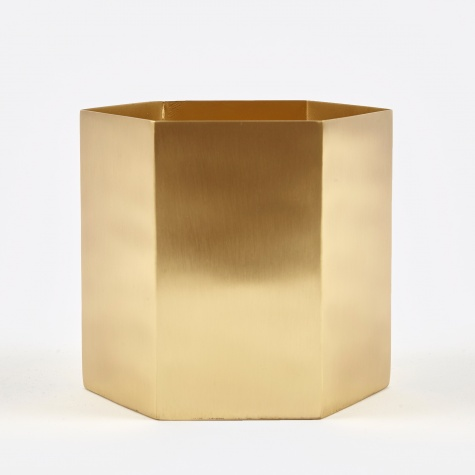 Large Hexagon Pot - Brass