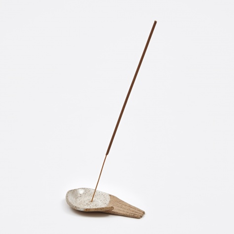 Large Open Palm Incense Holder - White Palm, Clear Fin