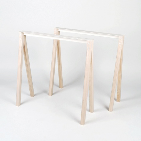 Split Trestle Pair - Ash Wood/ White